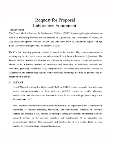 laboratory equipment sales proposal