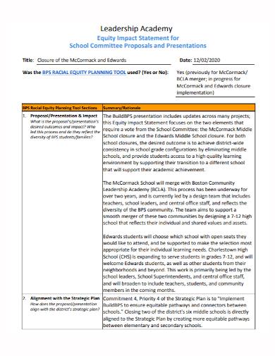 leadership equity impact statement