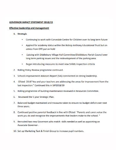 leadership management impact statement