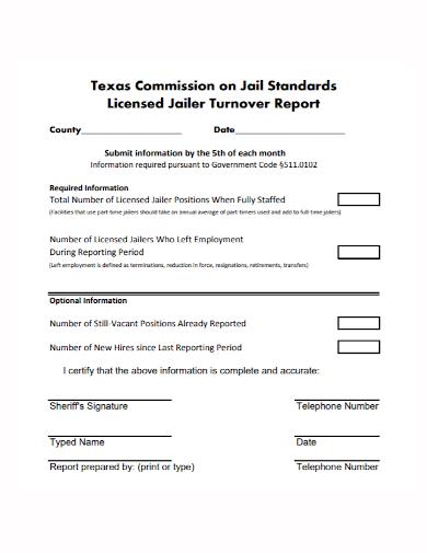 licensed jailer turnover report