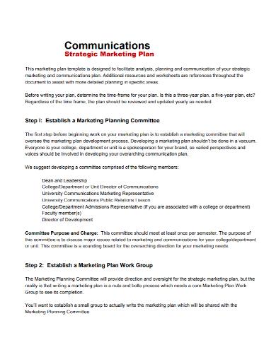 marketing communications strategy plan