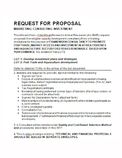marketing consulting investment proposal