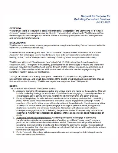 marketing consulting request for proposal