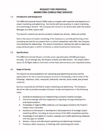 marketing consulting services proposal