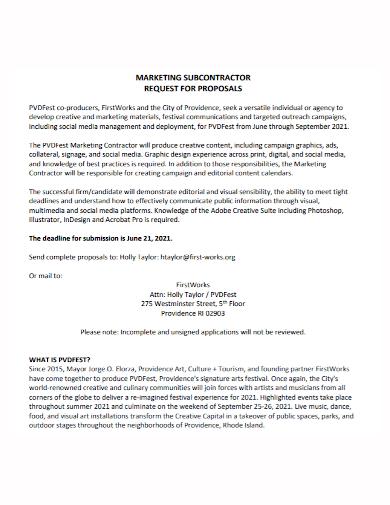 marketing subcontractor proposal