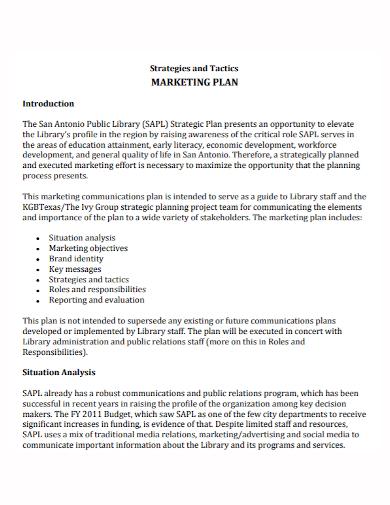 marketing tactics strategy plan