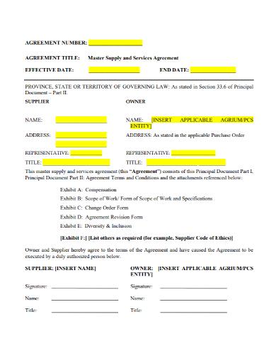 master supplier services agreement