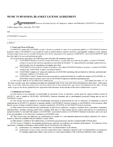 music business license agreement