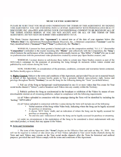 music copyright license agreement
