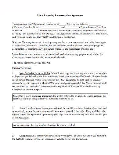 music license representation agreement