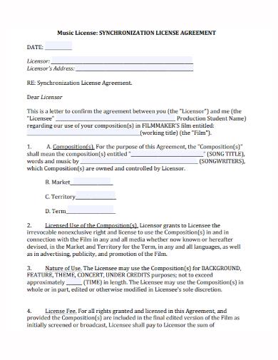 music synchronization license agreement