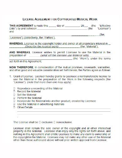 musical work copyright license agreement