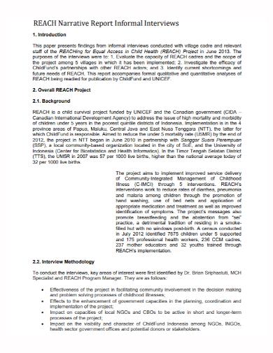 narrative informal interview report