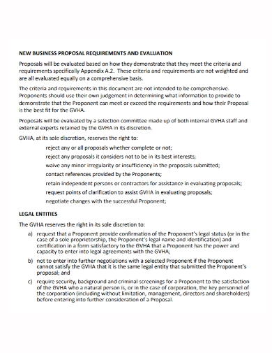 new business evaluation proposal