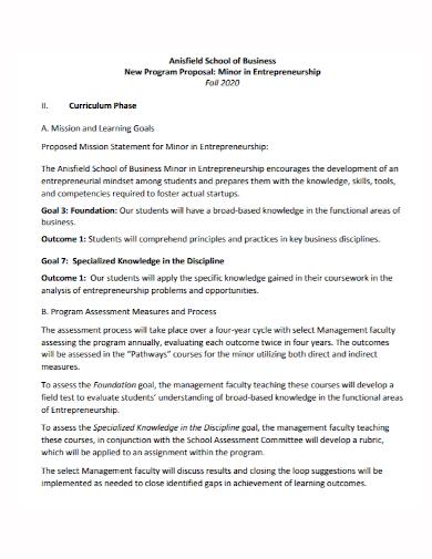 new business school program proposal