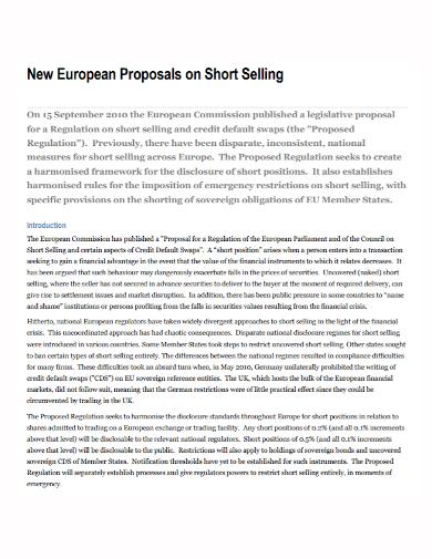 new short sales proposal