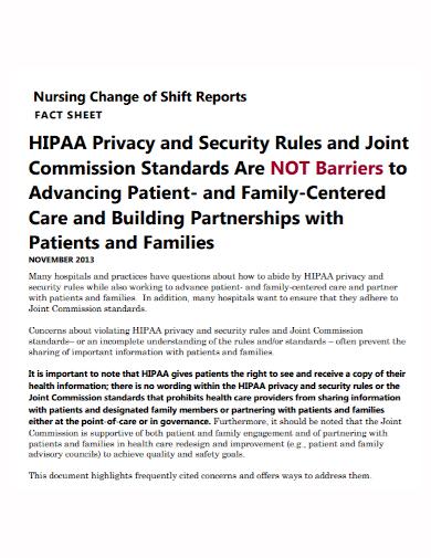 nursing change shift report fact sheet