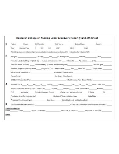 nursing labor delivery report sheet