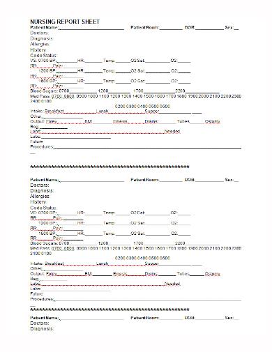 nursing patient report sheet