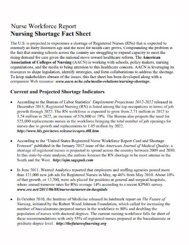 nursing workforce report fact sheet