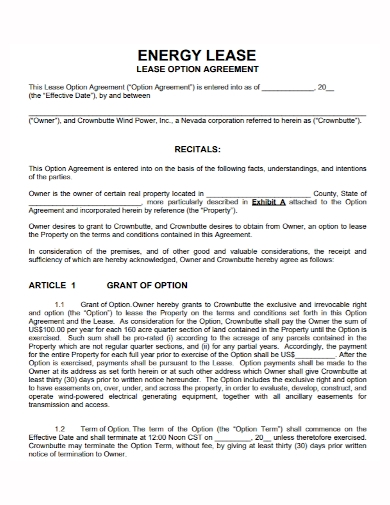 option to energy lease agreement