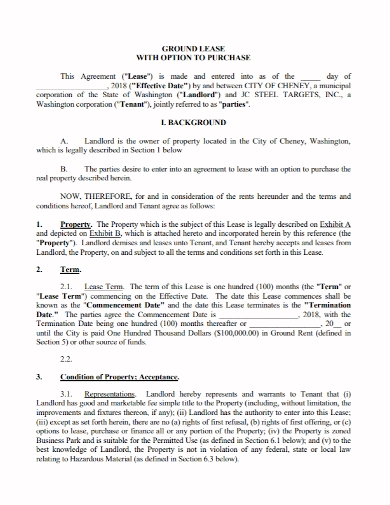 option to ground lease agreement