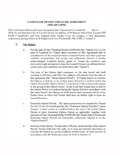 option to land lease agreement