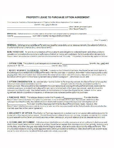 option to property lease agreement