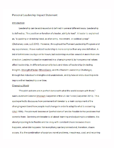 personal leadership impact statement