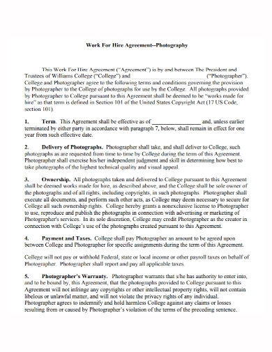 photography work for hire agreement