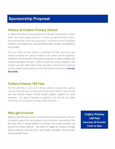 primary school sponsorship proposal