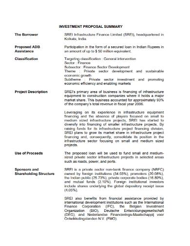 project investment summary proposal