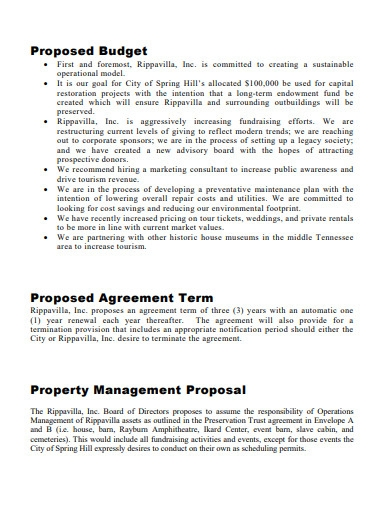 property operations management proposal
