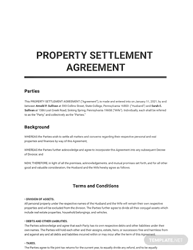 property settlement agreement templates