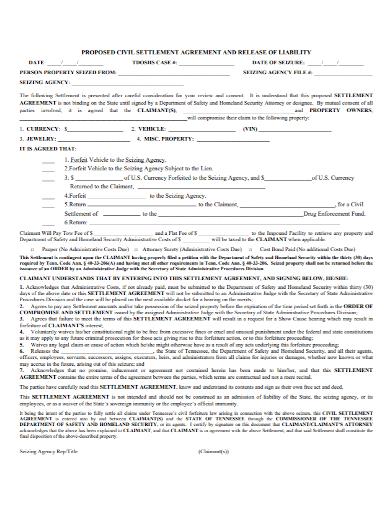 property settlement liability agreement