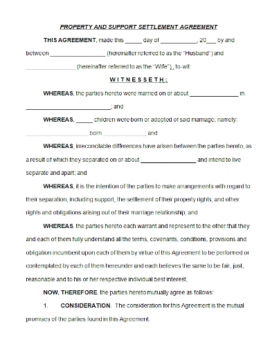 property support settlement agreement