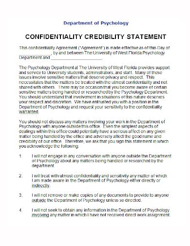 psychology credibility statement