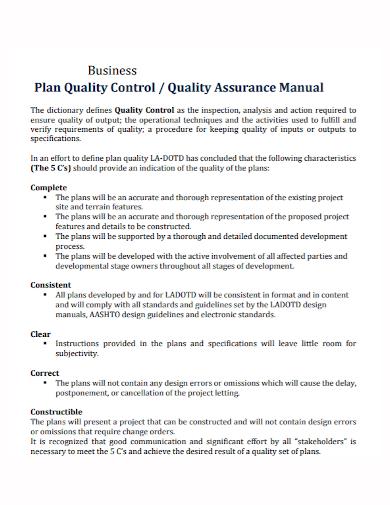 quality control assurance business plan