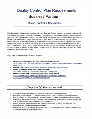 quality control compliance business partner plan