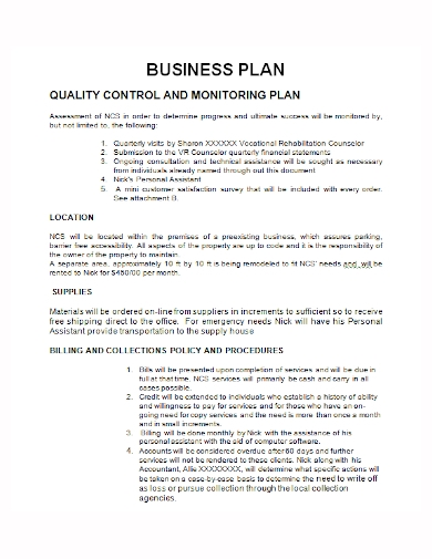 quality control monitoring business plan