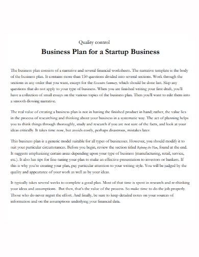quality control startup business plan