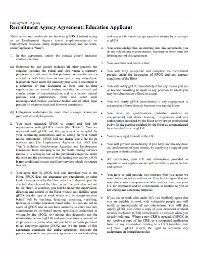 recruitment employment agency agreement