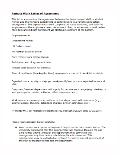 remote work letter of agreement