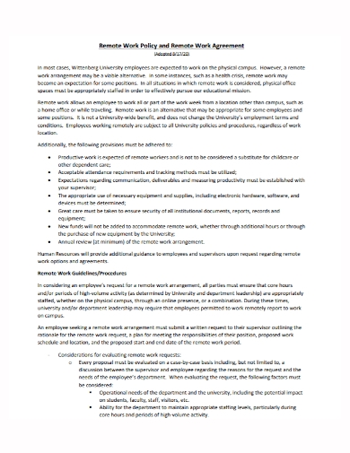 remote work policy agreement