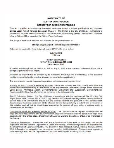 request for subcontractor bid