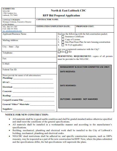 residential construction bid proposal