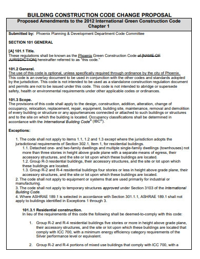 residential construction code change proposal