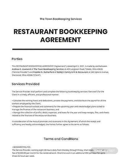 restaurant bookkeeping agreement template