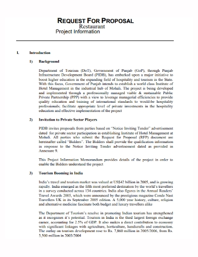 restaurant project request for proposal