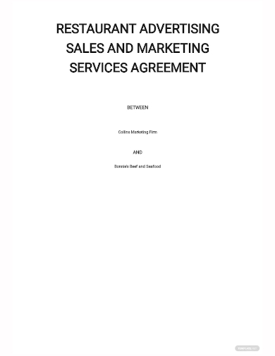 restaurant sales and marketing services agreement